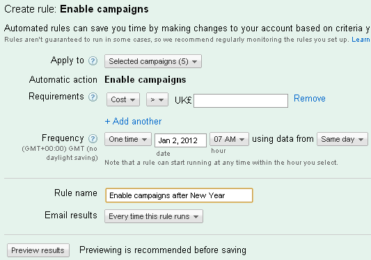 Adwords panel letting you automate re-starting a campaign