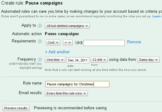 Panel in adwords letting you pause a campaign