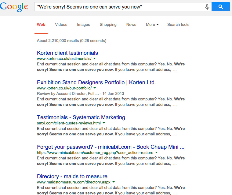 "Google Search results for ""We're sorry. It seems no one can serve"""